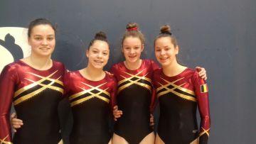 juniores Tumbling team: Anna Buyens, Louise Van Regenmortel, Hannelore Tuyteleers en Jill Stegen