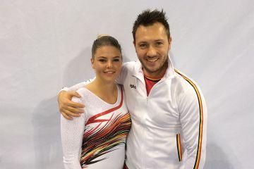 Tachina Peeters met coach Luk Goris zijn tevreden na de kwalificaties!