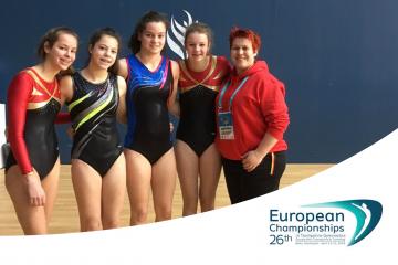 Juniorenteam Tumbling: Anna Buyens, Louise Van Regenmortel, Hannelore Tuyteleers en Jill Stegen